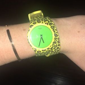 Jeremy Scott x swatch cheetah and green watch